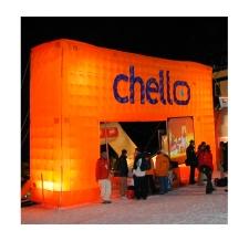Werbebogen flach beleuchtet - Bogen Corner flach Chello