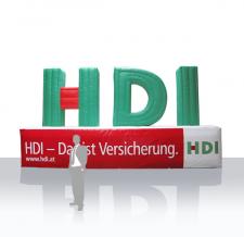 Aufblasbares XXL Logo - HDI auf Sockel