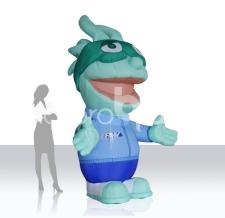Anfertigung von aufblasbaren Figuren nach Wunsch - aufblasbares Firmenmaskottchen Buba