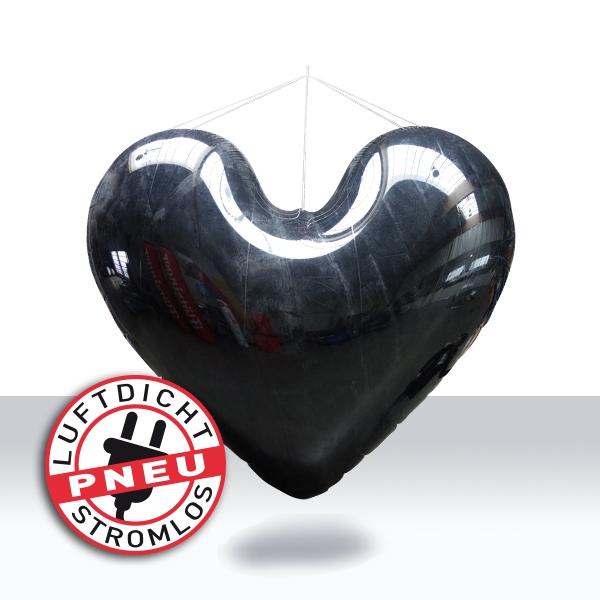 aufblasbares riesiges schwarze Herz luftdicht - für tjg. theater junge generation Dresden