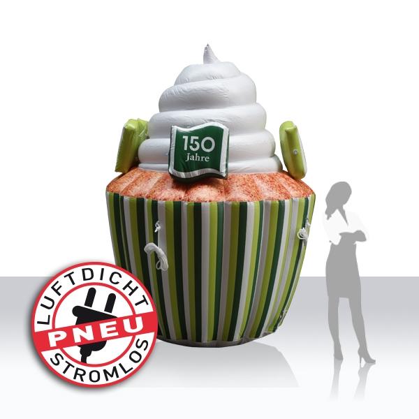 """riesiger aufblasbarer """"luftdichter"""" cupcake für 150 Jahre Kantonalbank Thurgau"""