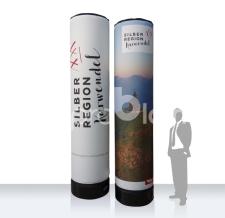 aufblasbare Eventsäule - MAX Werbesäule Silberregion Karwendel