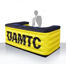 Promotiontheke aufblasbar eckig mit Lamellen - aufblasbare Info Theke eckig ÖAMTC