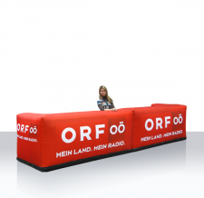 Messe-, Verkaufsstand, Promotiontheke - Info Bar eckig in Modul-Bauweise ORF