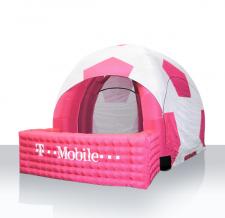 Aufblasbares Zelt Modern Sonderform Fußball mit Infotheke - T-Mobile